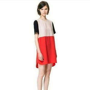 Zara Colorblock Short Sleeved Shift Dress